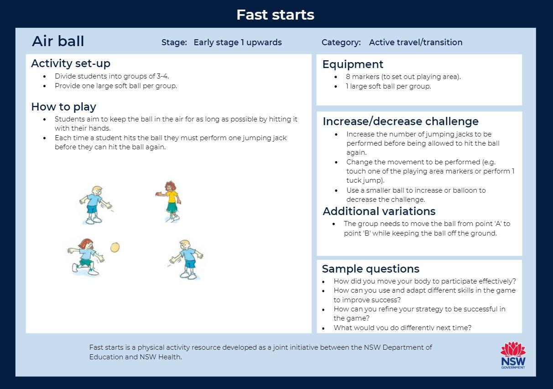 Air ball - Fast start activity card