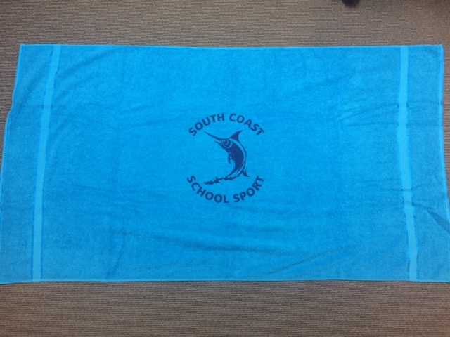 South Coast aqua towel with navy emblem